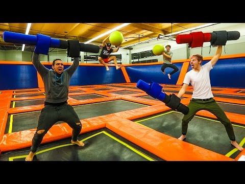 OVERNIGHT IN A TRAMPOLINE PARK! (WE GET CAUGHT!)
