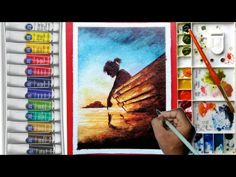 Simple Watercolor Painting 'Touching Water' for beginners !