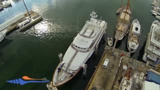 Short drone video of the shipyard Astilleros de Mallorca