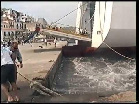 "Minoan Lines ferry ""El Greco"" slightly crashing into Skiathos (Greece) harbour wall (summer 1996)"