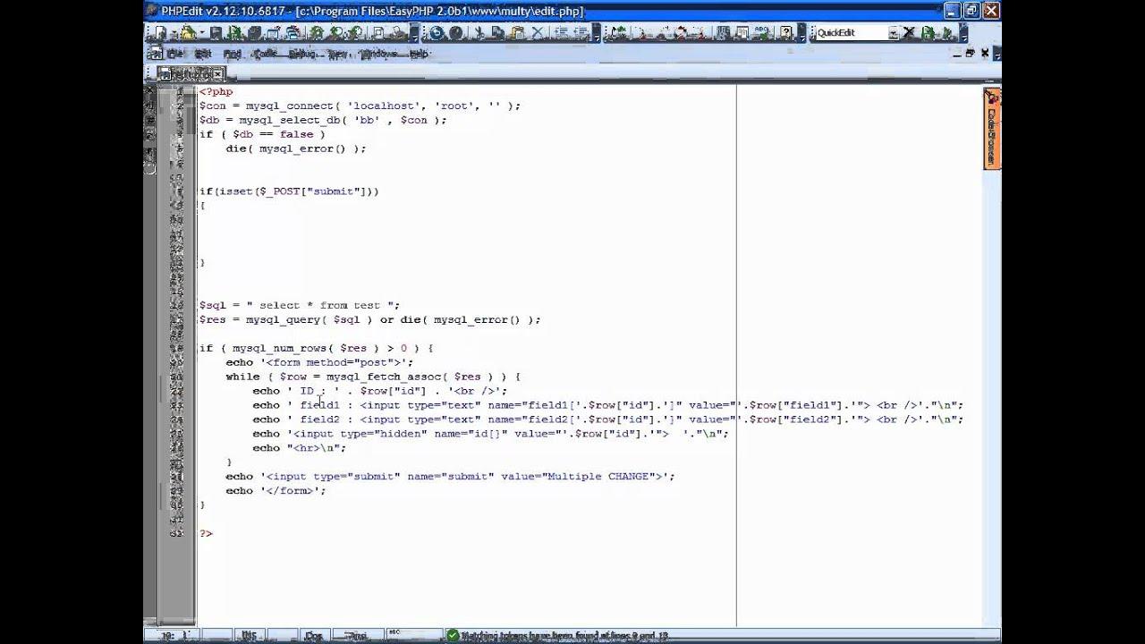 Update delete multiple records php mysql tutorial eng youtube update delete multiple records php mysql tutorial eng gamestrikefo Gallery