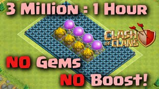 Clash of Clans - How to make 3 MILLION Loot in 1 Hour WITHOUT GEMS OR BOOST! (Best Strategy)