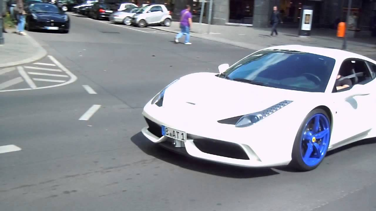 white ferrari 458 speciale with blue rims downshift - Ferrari 458 Blue And White