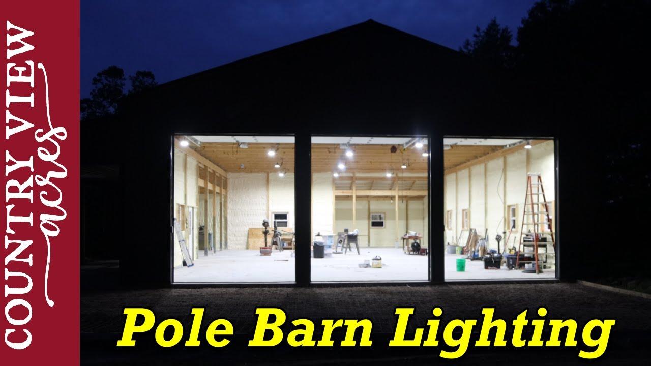 Very Bright Pole Barn Lighting and Concrete Apron in Front.  Cost of pole barn build so far.