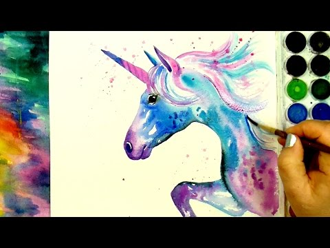 """Learn How to Paint And Color """"A Beautiful Unicorn"""" – A Simple Watercolour Speed Painting Tutorial"""