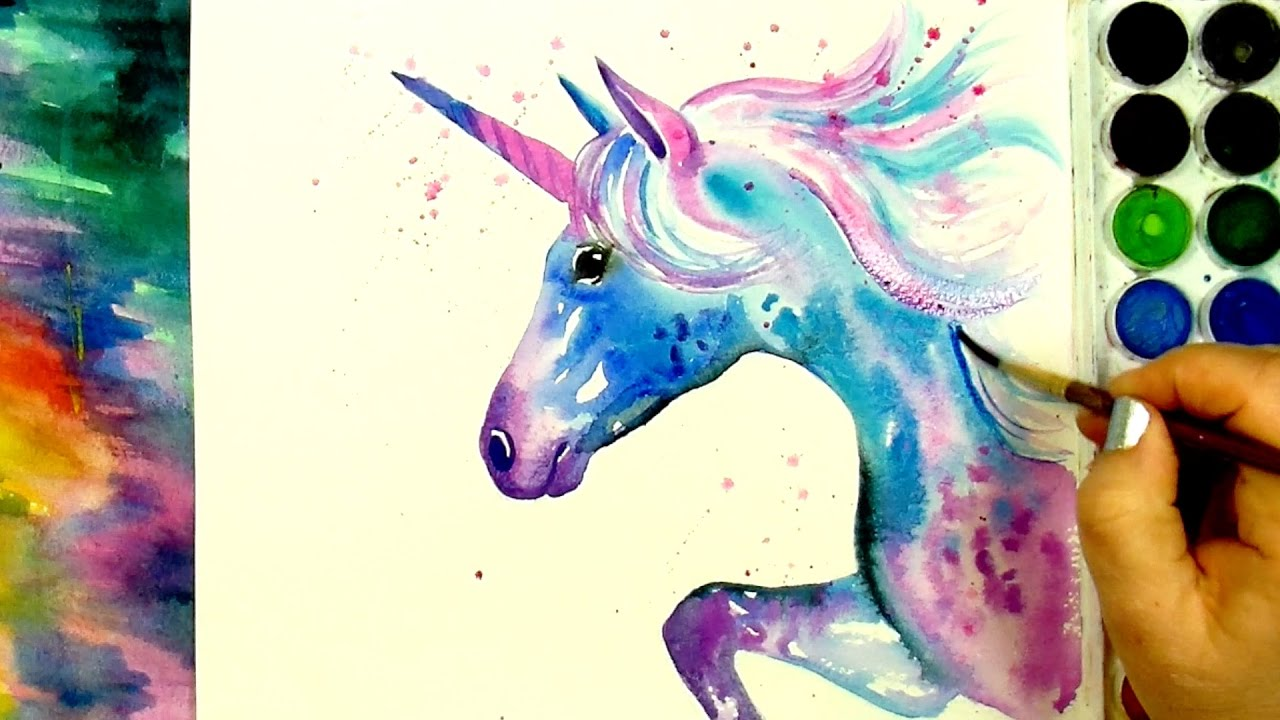 Paint And Color A Beautiful Unicorn Simple Watercolour Sd Paintingl
