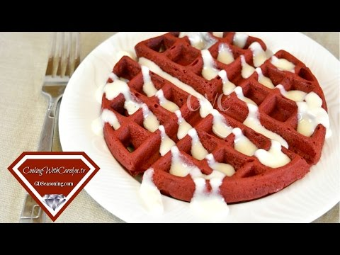 Red Velvet Belgian Waffles w Cream Cheese Glaze |Cooking With Carolyn