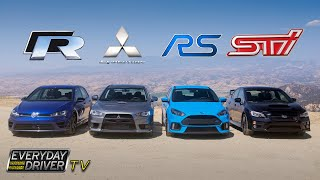 Ford Focus RS Showdown - Golf R, STI, Evo X - Everyday Driver