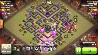 Clash of Clans Strategi 3 star GoLavaLoon TH9 edisi 1 Hero [Bahasa]