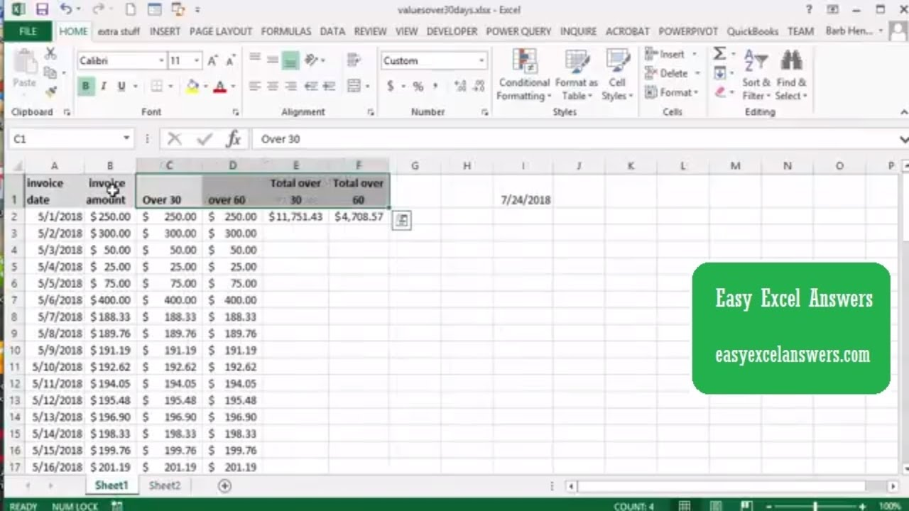 Calculate the total owed over 20 days and 20 days in Excel