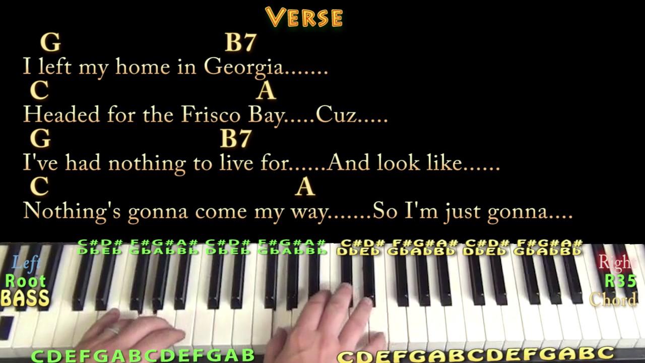 Sittin' On The Dock Of The Bay Otis Redding Piano Lesson Chord Chart    Chords/Lyrics   Arpeggios