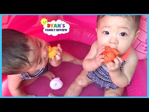 Babies and Kids Family Fun Pool Time with Rubber Ducky! Ryan's Family Review