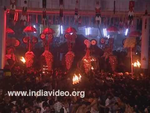 Elephant pageantry at Pisharikkavu Temple