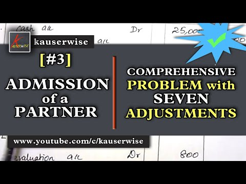 Admission of a Partner[#3] [Comprehensive problem with 7 adjustments] in Partnership Accounting