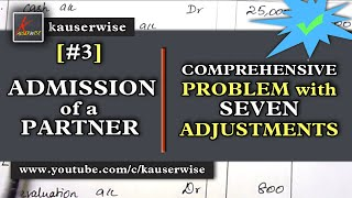 Admission of a Partner[#3] [Comprehensive problem with 7 adjustments] in Partnership Accounting thumbnail