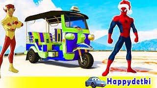 Человек паук на цветных машинках и самолетах, учимся считать