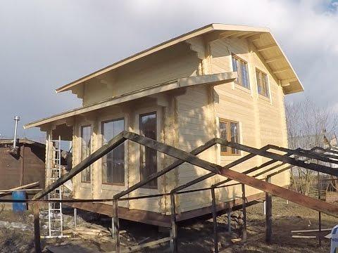 """Сборка дома """"Звезда"""" из двойного бруса в 2 этажа за 7 дней! Солнечногорск [#М57]"""