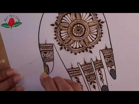 Mandala and checks border simple beautiful mehndi design for palms