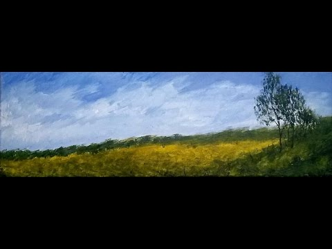 Cornfield Impression, (Panoramic) Acrylic Painting - TIMELAPSE w/ Instructions