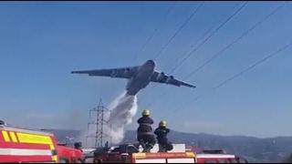 De Cerca, Avión Ruso Ilyushin Il-76 en Incendio Forestal Quilpué Chile.