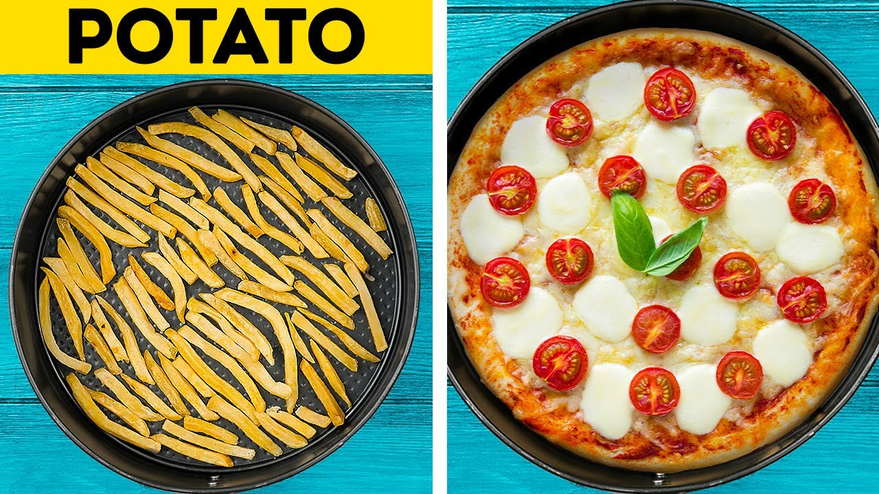 Easy And Delicious Food Recipes With Fast Food, Pizza, Marshmallow And Chocolate