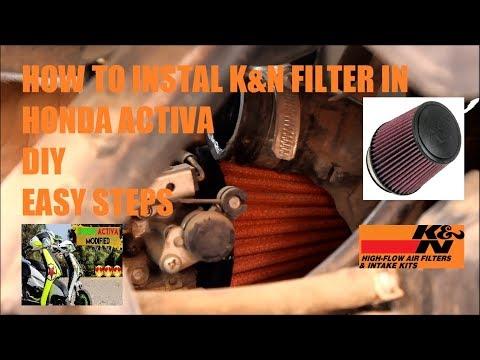 Honda Activa Modified|k&n air filter|How to instal k&n air