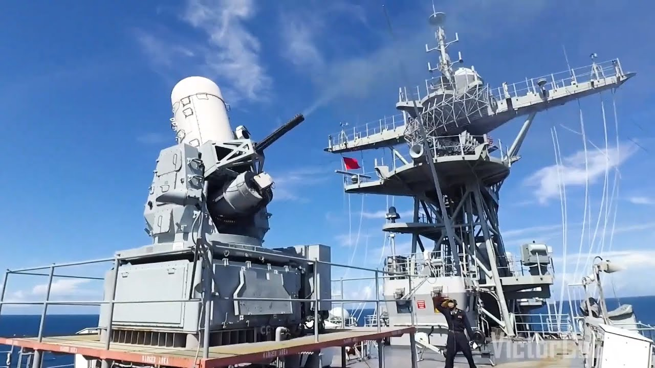 USS Sterett • Fires its Close In Weapons System (CIWS) • Red Sea August 13, 2020