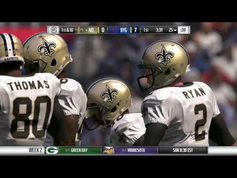 Franchise Mode: Madden NFL 17 - Part 7 - Week 2: Saints Vs. Giants