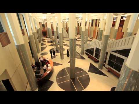 Inside the Australian Parliament House Foyer Canberra, ACT, Australia - Stock Footage
