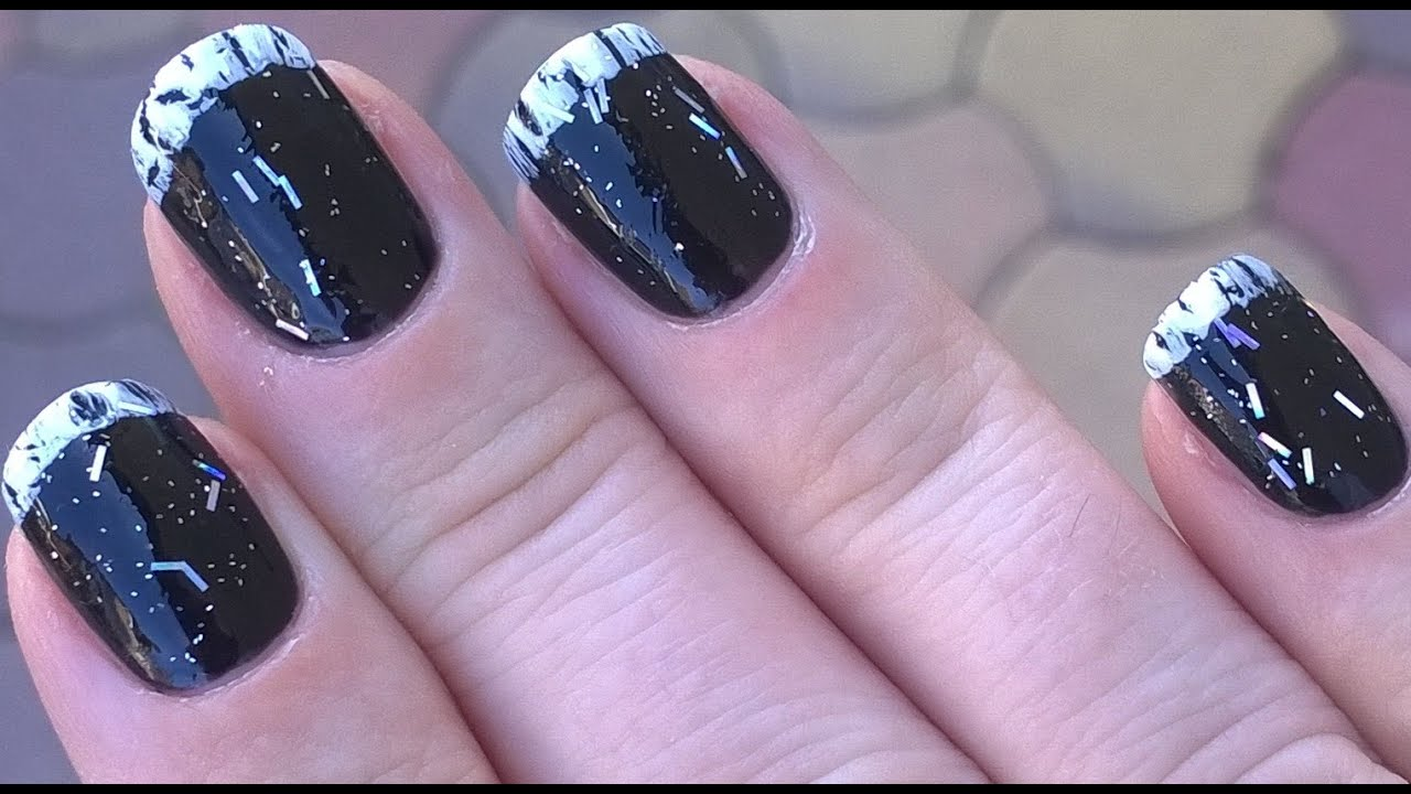 Black White French Manicure Inspired Nails Using Crackle Nail Polish