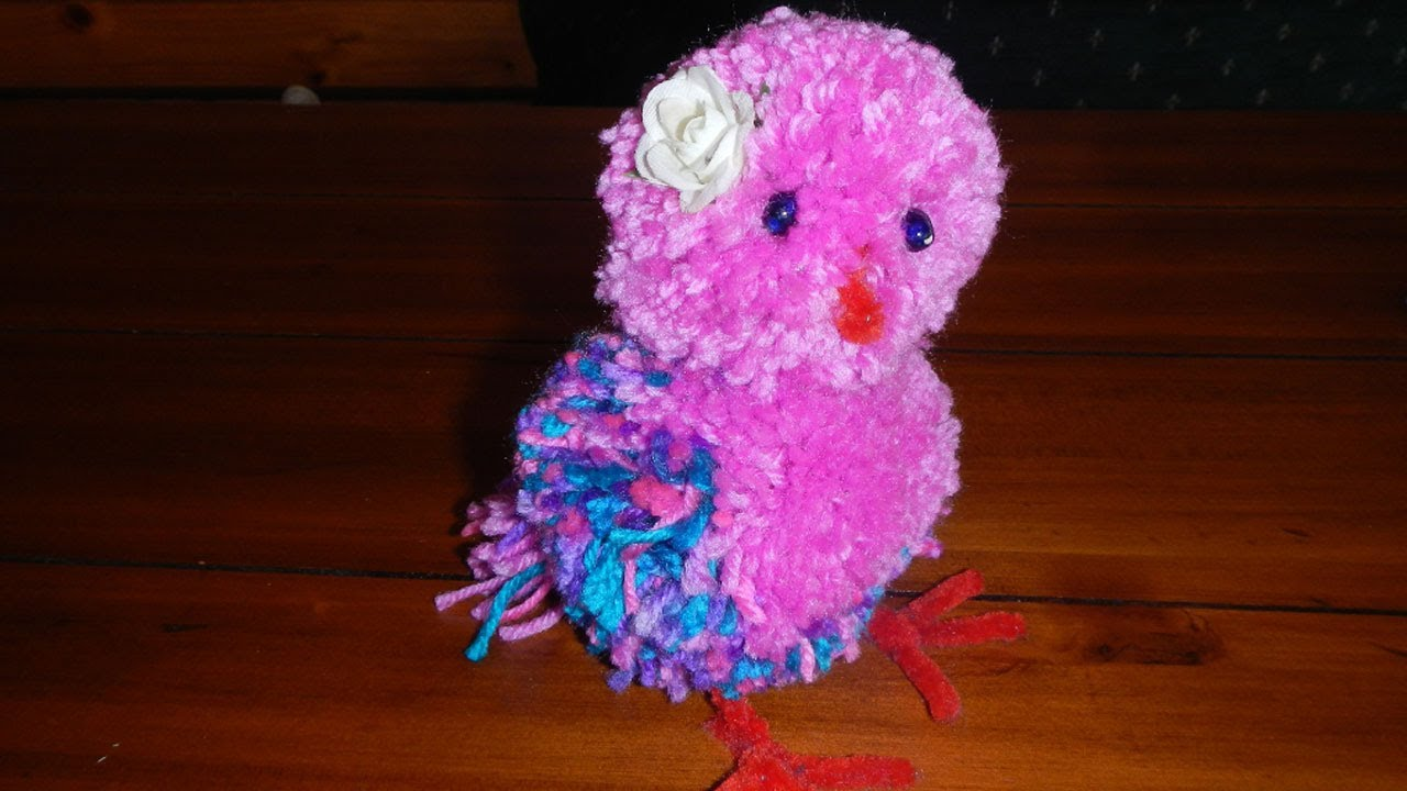 Fun to make simple pompom bird youtube for Cute pom pom crafts