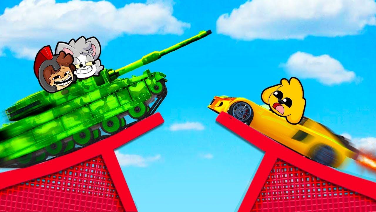 ¡CHOCAMOS con SUPER AUTOS en el AIRE! 😱🚒 ¡CARRERA IMPOSIBLE DE CHOQUES! 🚨 MIKECRACK GTA 5 Online #10