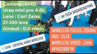 CVW PRO200 wireless transmission on robotic gimbal with its gear friends on a tour