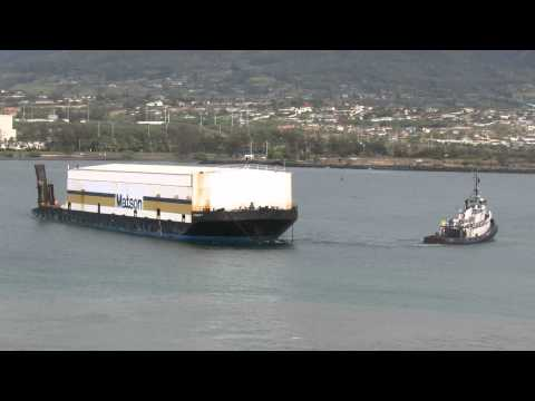 Tug Turning Matson Waialeale Container Barge at Kahului, Hawaii (from NCL Pride of America)