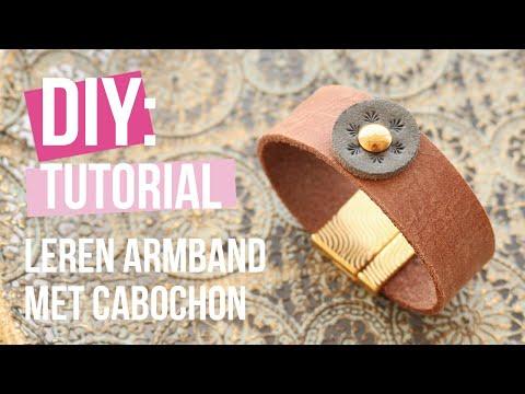 Sieraden maken: DQ leren armband met leer cabochon ♡ DIY