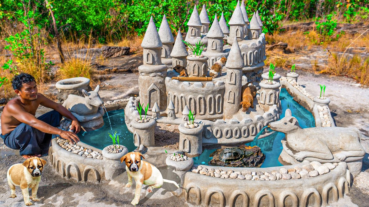 Rescue Abandoned Dog And Build Amazing Rock Castle Dog House For Them