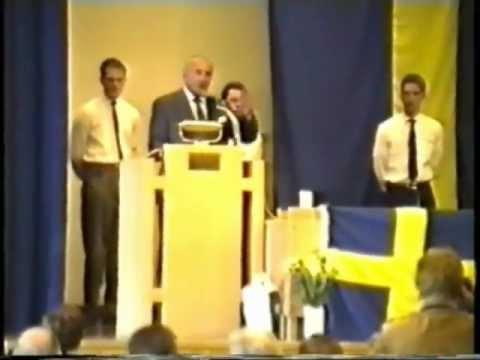 Franz Schönhuber talar på SD:s valupptaktsmöte 1991