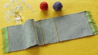 手織り作品例「Tシャツの裂き織りマット」