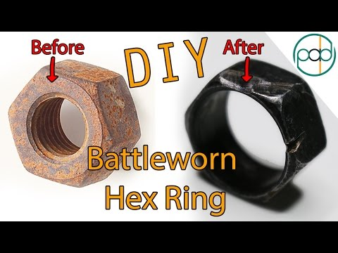 Making a Battleworn Ring out of a Free Rusty Hex Nut (Upcycling!)