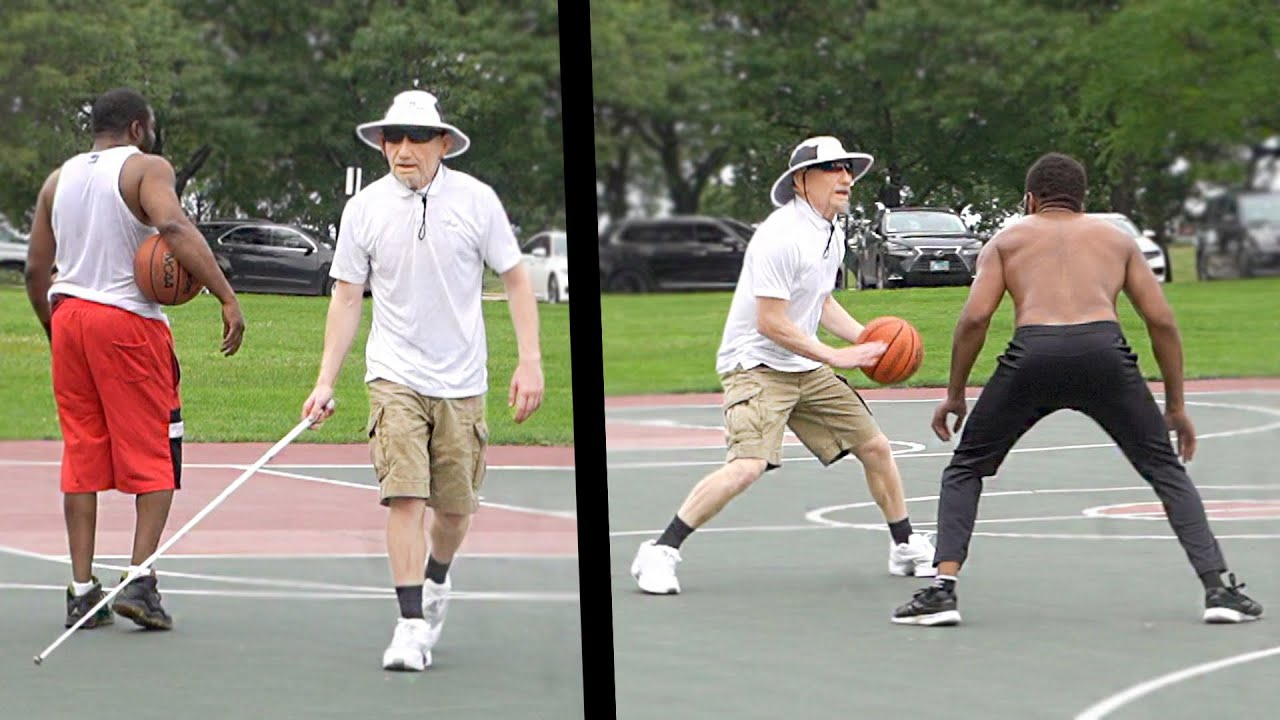 Blind Old Grandpa Plays Basketball At The Park!