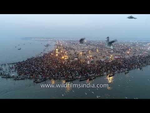 Triveni sangam stunning aerial view over Allahabad Kumbh on the Ganga