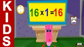 HomeSchool Tutorial | 16 Times Table Song | Kids Math Online Education (English Language)