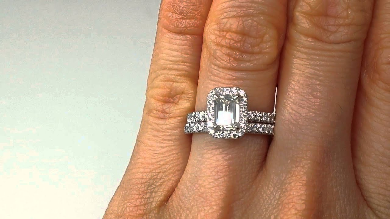 1 63 Emerald Cut Diamond Engagement Ring and Wedding Band Set