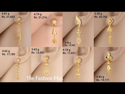 Latest Light Weight Gold Earrings Designs With And