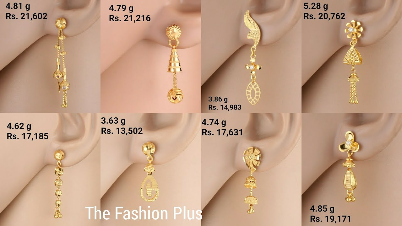 12487b054 Latest light weight gold Earrings designs with WEIGHT and PRICE ...