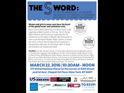 World Water Day 2016 Event -the Human Rights to Sanitation and Water