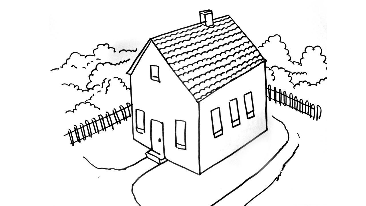 how to draw a house in top view  step by step