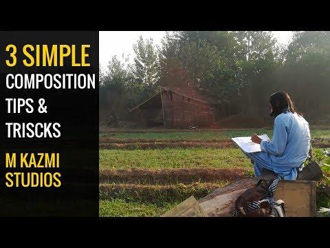 3 simple painting composition tips and tricks urdu hindi | M KAZMI STUDIOS