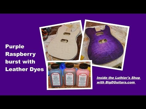 Purple Raspberry Burst With Angelus Leather Dyes On A Guitar Body