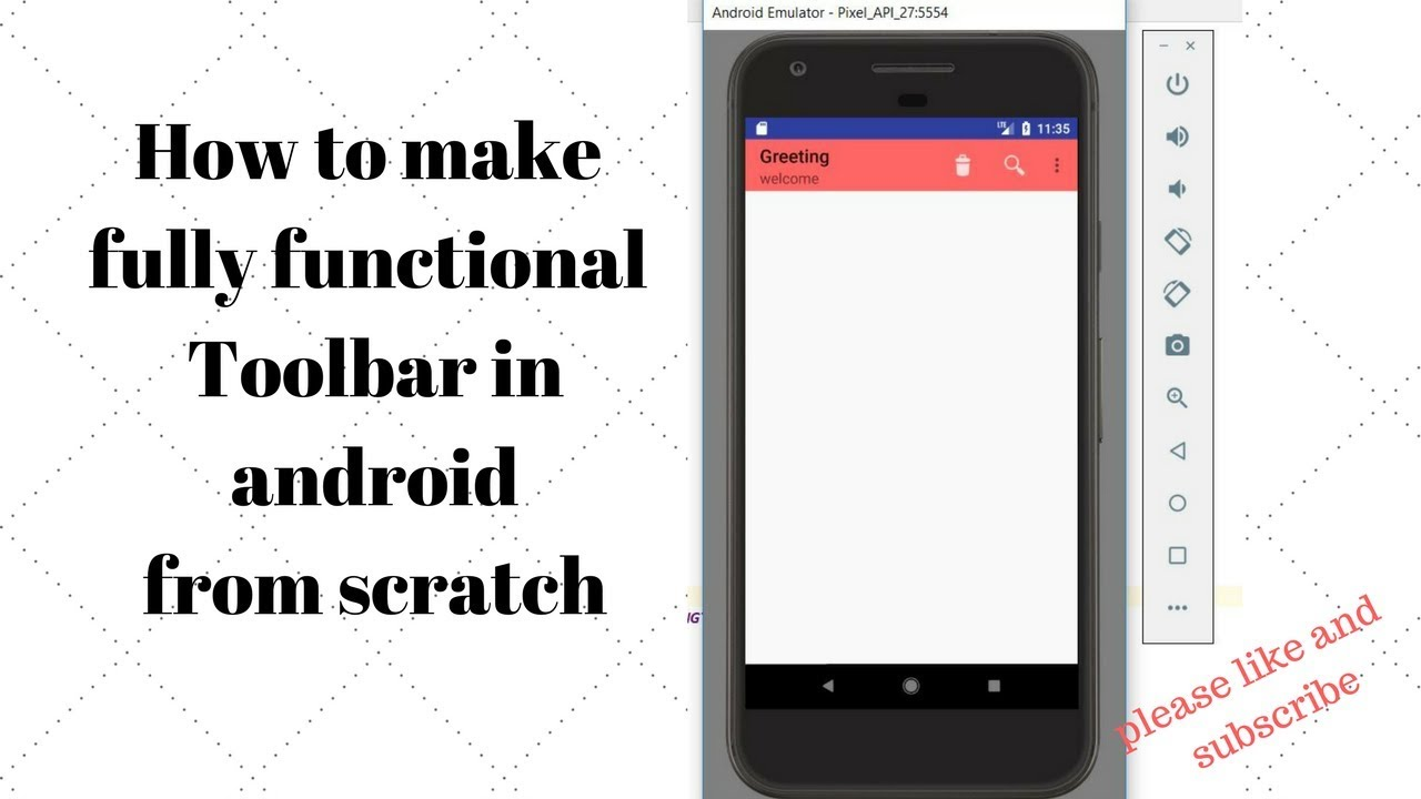 How to use Toolbar in android as Actionbar ||with icon and search button ||  android material design